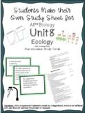 AP Biology Unit 8 Ecology Study Sheet and Study Cards