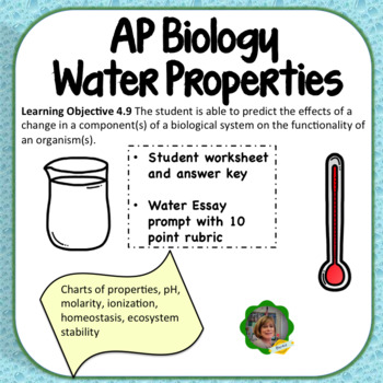 ap biology water properties review worksheet and essay tpt ap biology water properties review worksheet and essay