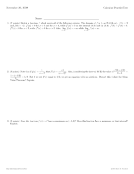 AP CALC:  Chapter 4 Review