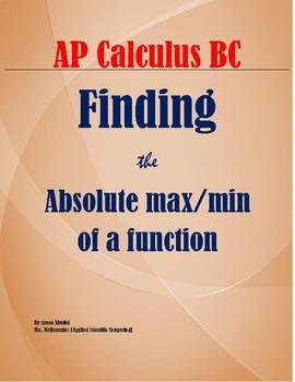 ABSOLUTE MAXIMUM / MINIMUM OF A FUNCTION