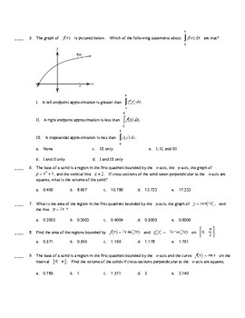 AP Calculus AB AP Practice Area Volume problems