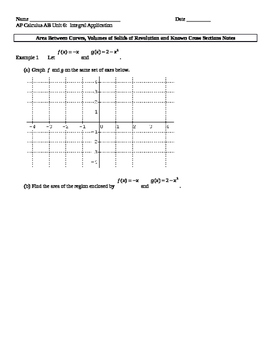 AP Calculus AB: Areas and Volumes of Solids of Revolution Notes
