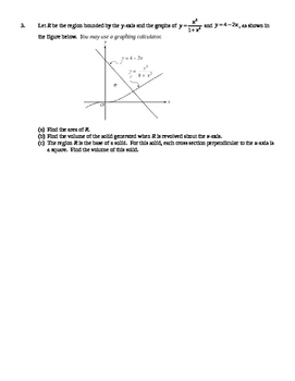 AP Calculus AB: Areas and Volumes of Solids of Revolution Quiz