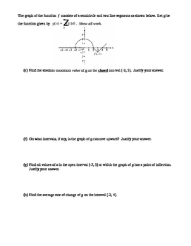 AP Calculus AB:  Average Value, Antiderivative Part of the FTC, and U-Subs Quiz