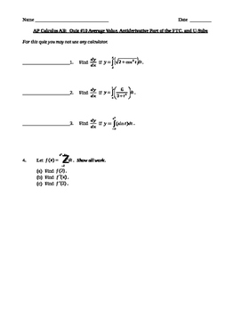 AP Calculus AB:  Average Value, Antiderivative Part of the
