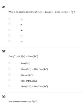 AP Calculus AB Chain Rule Quiz / Homework
