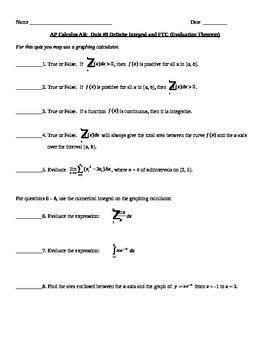AP Calculus AB: Definite Integral Quiz