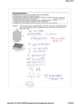 AP Calculus AB:  Deriative Applications in the Real World Notes Answer Key