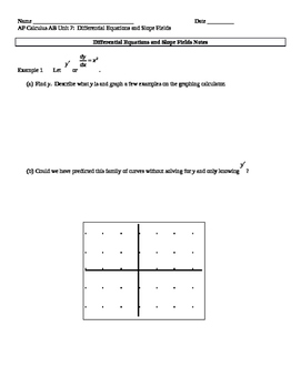 AP Calculus AB: Differential Equations and Slope Fields Notes