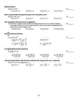 AP Calculus AB Fall Semester Exam Version 3