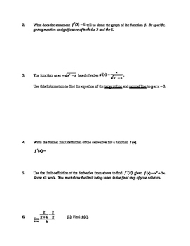 AP Calculus AB: Formal Derivative and its Definition Quiz