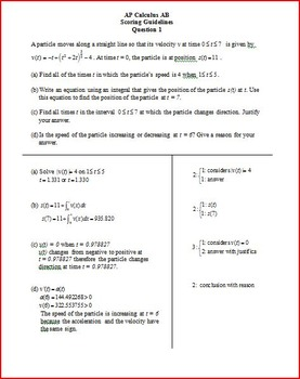 AP Calculus AB Free Response Questions
