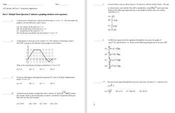 AP Calculus AB Integral Applications Unit