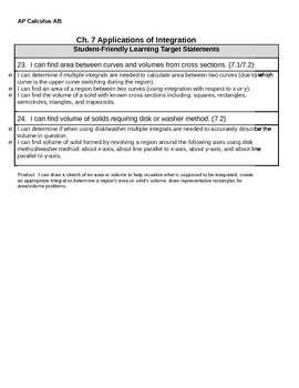 AP Calculus AB Learning targets Chapter 7 Applications of