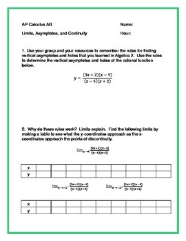 AP Calculus AB - Limits, Asymptotes, and Continuity - Ch 2