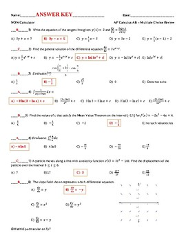 AP Calculus AB Non-Calculator Review:  Multiplce Choice And Free Response