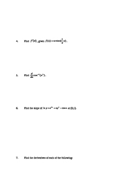AP Calculus AB: Other Derivative Rules and Techniques Quiz