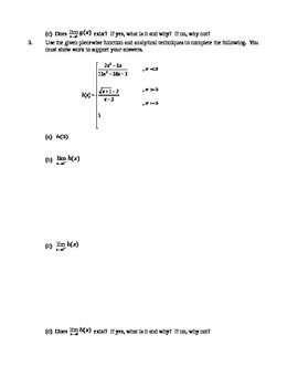AP Calculus AB Quiz 1 Limits