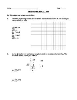 AP Calculus AB Quiz 1 Limits