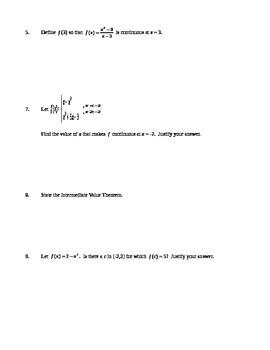 AP Calculus AB: Quiz Continuity