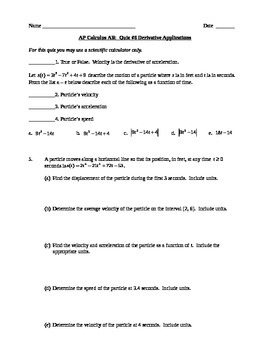 AP Calculus AB: Quiz Derivative Applications in the Real World