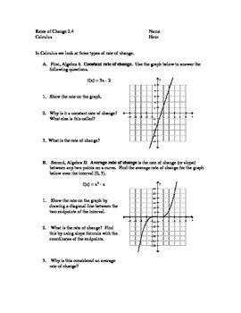 AP Calculus AB, Rates of Change Investigation