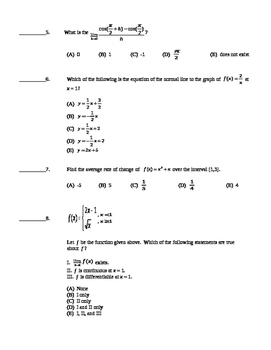 AP Calculus AB: Unit Exam Derivative