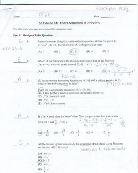 AP Calculus AB: Unit Exam Derivative Application Answer Key