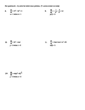 AP Calculus AB: Unit Exam Differential Equations and Slope Fields Homework
