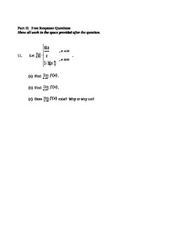 AP Calculus AB: Unit Exam Limits and Continuity