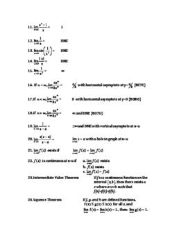 AP Calculus AB and BC Flash Card List