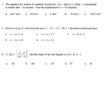 AP Calculus - AP Practice Applications of Derivatives PowerPoint presentation