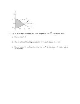 AP Calculus AP Practice Area Volume worksheet