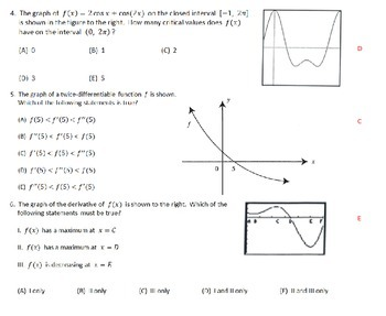 AP Calculus - AP Practice Graphs of Derivatives PowerPoint presentation