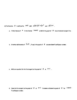 AP Calculus Applications of Differentiation Unit Free Response Questions