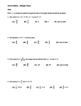 AP Calculus: Area & Volume AP Multiple Choice Practice