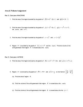 AP Calculus Area Volume Assignment
