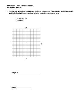 AP Calculus: Area & Volume Review