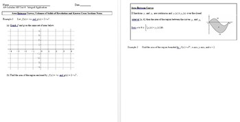 AP Calculus:Areas/Volumes of Solids of Revolution Notes with Smart Presentation