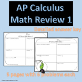AP Calculus Back to School Weekly Math Review 1