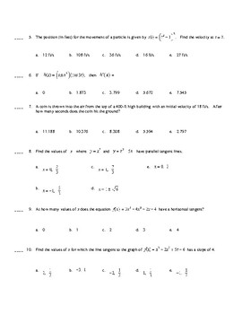 AP Calculus: Basic Derivatives Test