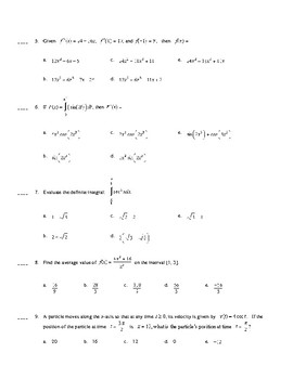 AP Calculus: Basic Integration Test