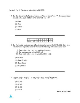AP Calculus: Benchmark Assessment 2