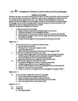 AP Calculus Chapter 1 Information Handout