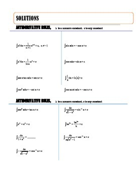 CALCULUS - COMMON INTEGRATION FORMULAS