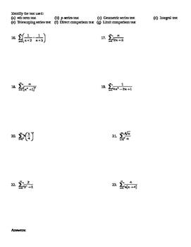 AP Calculus Convergence of Infinite Series worksheet