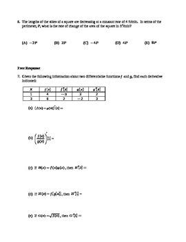 AP Calculus:  Derivatives AP Practice