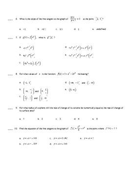 AP Calculus:  Derivatives Multiple Choice Practice (Calculator Active)