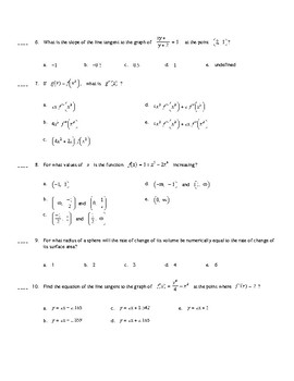 AP Calculus:  Derivatives Multiple Choice Practice (Calculator Active)