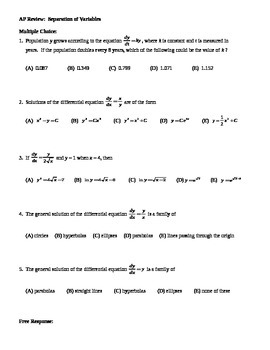 AP Calculus:  Differential Equations AP Practice